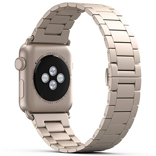 NO1seller Top Thin Light Stainless Steel 38mm Band Strap Bracelet Replacement with Butterfly Clasp for Apple Watch Series 1, Series 2, Series 3 - Gold by NO1seller Top