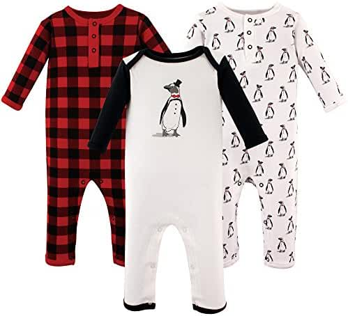 Hudson Baby Cotton Union Suits, 3 Pack