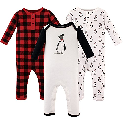 Hudson Baby Baby Cotton Union Suit, 3 Pack, Mr. Penguin, 0-3 Months