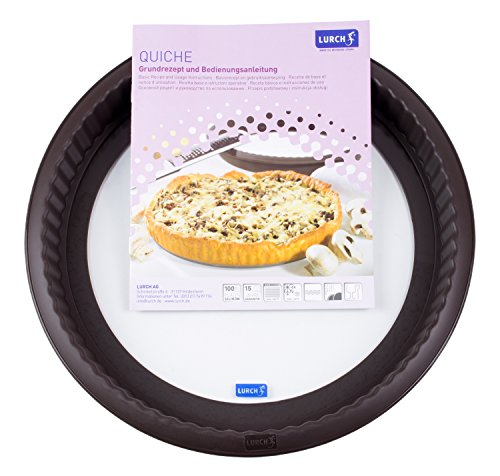 Lurch Germany Flexiform Silicone 10.2 Inch Quiche Mold with Glass Bottom, Brown