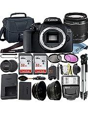 Canon EOS 250D (Rebel SL3) DSLR Camera with EF-S 18-55mm Lens + 2PC SanDisk 32GB Memory Card + Tripod + Case + ZeeTech Accessory Bundle (23pc Bundle) (32GB Memory Card)