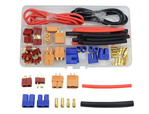 - WGCD 52 PCS T-plug EC3 XT60 Male and Female Adapter Connector with Silicone Wire and Heat Shrink Tube Replacement for RC ESC Lipo Battery Motor