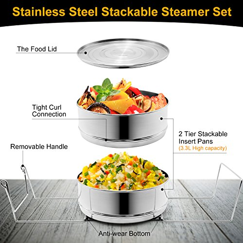 Stackable Steamer Insert Pans, Stainless Steel Insert Steamer for 6/8 Quart Instant Pot Pressure Cooker Baking Lasagna Pans Pot in Pot Accessories Cook 2 foods at Once by youermei (Image #1)
