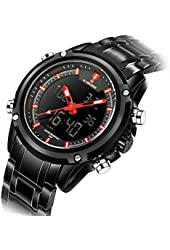 Affute Men Sports Watch Analog Quartz Digital LED Dual Display Steel Strap Military Wrist Watches for Men