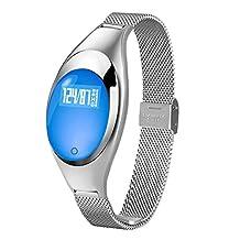 Women Multifunction Smart Sports Wristband Bluetooth V4.0 Daily Life Waterproof Smart Bracelet Heart Rate Moniter Fitness Tracker Smartband Pedometer Sleep Monitor Watch Silver