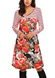 Zeagoo Womens Tunic Swing T-Shirt Dress Short Long Sleeve Striped Tunic Dress