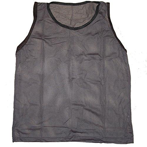 Workoutz Soccer Pinnies Set (1 Dozen) Scrimmage Vests Mesh Team Training Practice Shirts (Dark Gray, Youth)