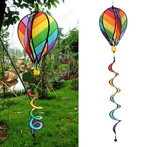 Striped Rainbow Windsock Hot Air Balloon Wind Spinner Garden Yard Outdoor Decor Toy by Superjune