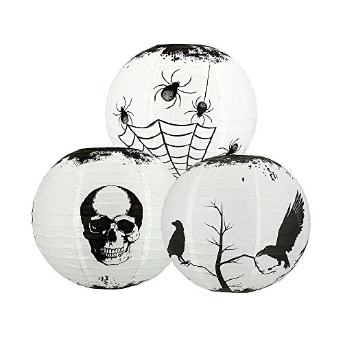 Quasimoon PaperLanternStore.com 14 Inch Halloween Dark Scary Stories Combo 3-Pack Paper Lanterns, Hanging Decoration]()