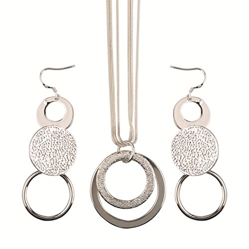 Hot Sale Wedding Fashion 925 Silver Plated Jewelry Set Earings Eardrop Necklace Double Scrub Round Hoop