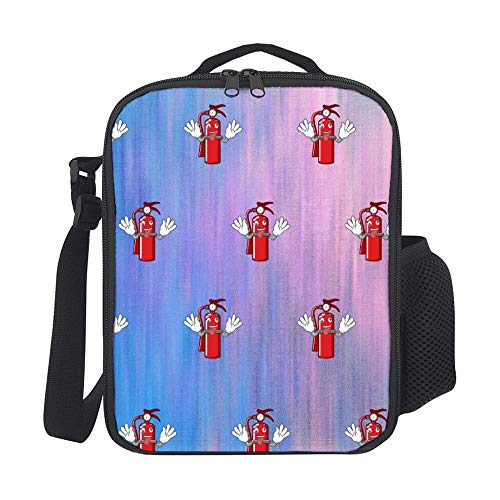 SARA NELL Kids Lunch Backpack Crazy Fire Extinguisher Cartoon Lunch Box Lunch Bag Large Lunch Boxes Cooler Meal Prep Lunch Tote With Shoulder Strap For Boys Girls