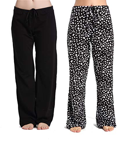 CYZ Women's Casual Stretch Cotton Pajama Pants Simple Lounge Pants-BlackButterfly2PK-XL (Personalized Christmas Pajamas)