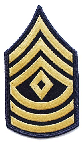 1st Sergeant E-8 Army Chevrons - Gold on Blue (Male) ()