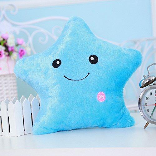 Star LED Luminous Light Pillow Cushion Gift Blue - 2