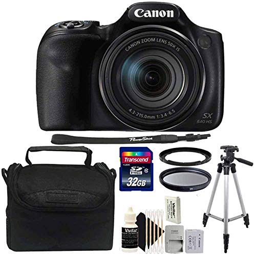 Canon PowerShot SX540 HS Digital Camera + 67mm UV Filter + 32GB Memory Card + Universal Flash Trigger + Camera Case + Tall Tripod + 3pc Cleaning Kit ()
