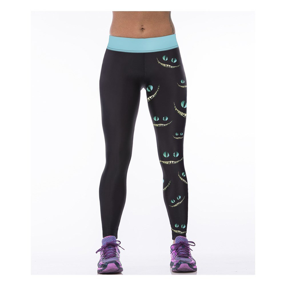 Hamrank Womens Cheshire Cat Print Sport Running Pants Leggings Black