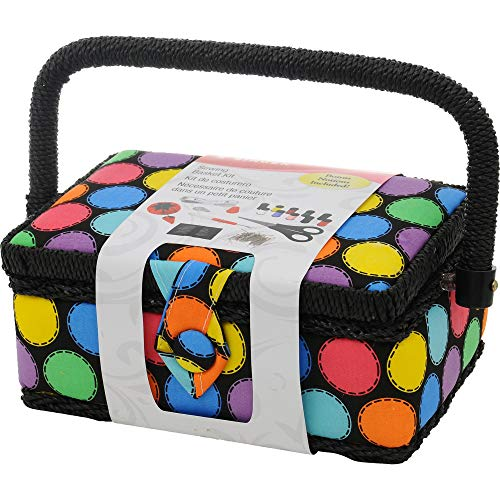 SINGER 07272 Polka Dot Small Sewing Basket with Sewing Kit Accessories 101 Piece Tool Caddy