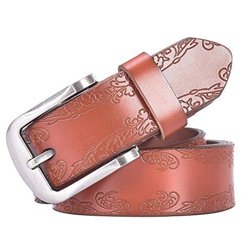 1 3 4 Leather Belt (Talleffort Women's Flower Genuine Cowhide Leather Jeans Belts (Waist Under 38'', Brown)