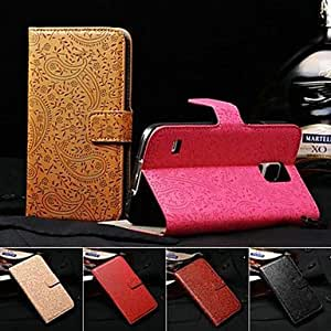 WQQ 3D Relief Lavender Pattern Full Body with Wallet Stand PU Leather Case for Samsung Galaxy S5 I9600 (Assorted Colors) , Black