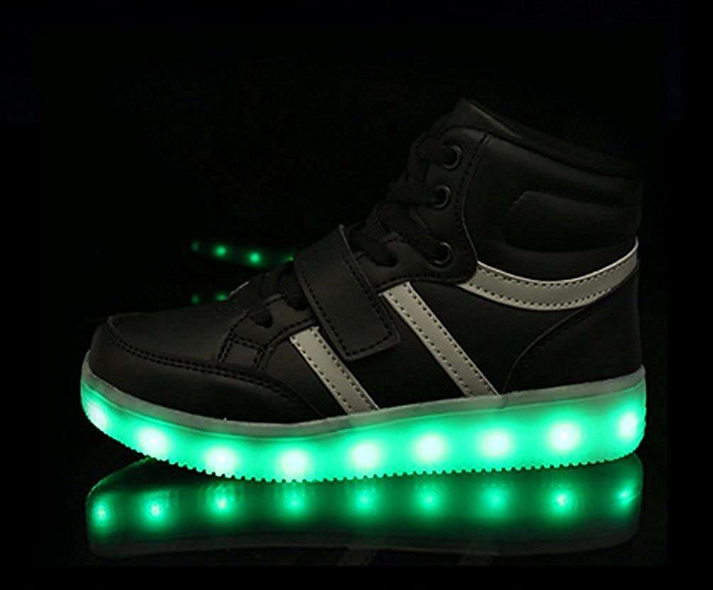 sexphd Kids Boy and Girls High Top Led Light Up Sneakers Flashing Rechargeable Sports Shoes
