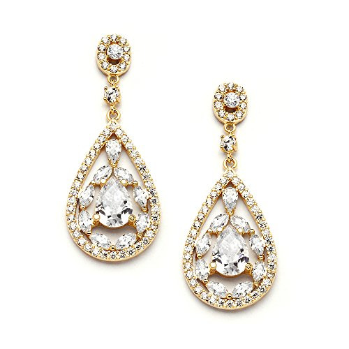 Mariell Gold Dangle Earrings for Brides, Wedding or Prom - Vintage Pear-Shape CZ Statement Chandeliers by Mariell