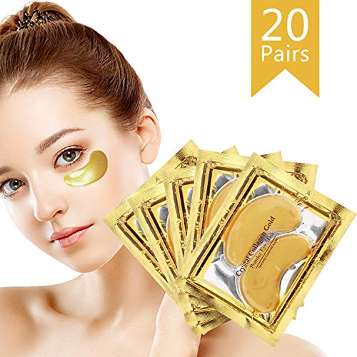24K Gold Powder Collagen Eye Mask, Great for Anti Aging Crystal Gel, Dark Circles, Puffiness and Fine Lines, 100% Collagen Under Eye Pads for Man and Women 20 Pairs