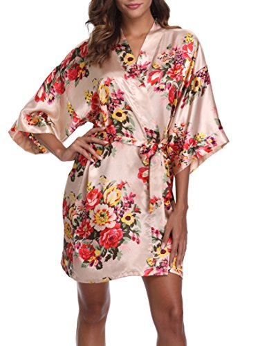 1stmall Floral Satin Kimono Short Style Bridesmaids Robes for Women, Champagne M -