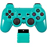 Wireless Controller 2.4G Compatible with Sony Playstation 2 PS2 (Green)