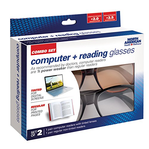 Unisex Adult Two Pack of Computer and Regular Reading Glasses - 3.0