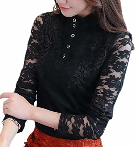 Lace Winter Tops Sleeve Warm Womens 5 Stand Long Flare Collar Blouse TTYLLMAO Yx1Twq