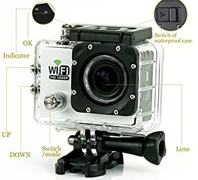 """VMATE® SJ6000 WiFi Version 2"""" LCD Display 170° Wide Angle H.264 12.0MP 1080P HD 30M Waterproof Outdoor Helmet Sport DV Digital Video Camera Recorder Diving Bicycle Action Camera with HDMI TF Slot"""