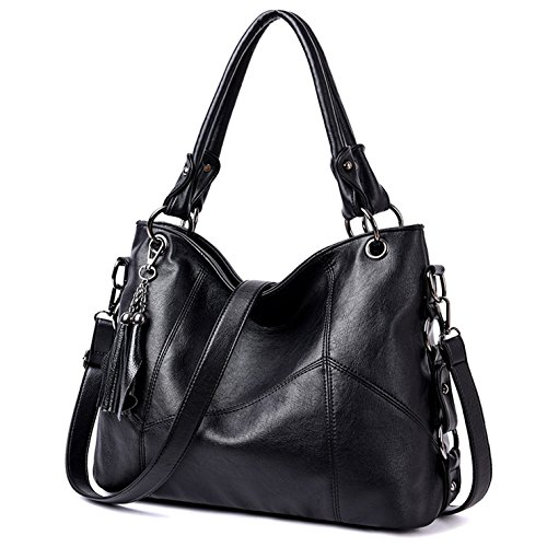 Black Leather Tassel Bag - 5