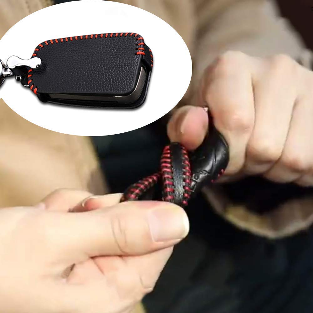Leather Remote Case Car Key Bag Cover for FORD 3 Buttons Folding Key Genuine Hand Sew Red Line 1PC Type C