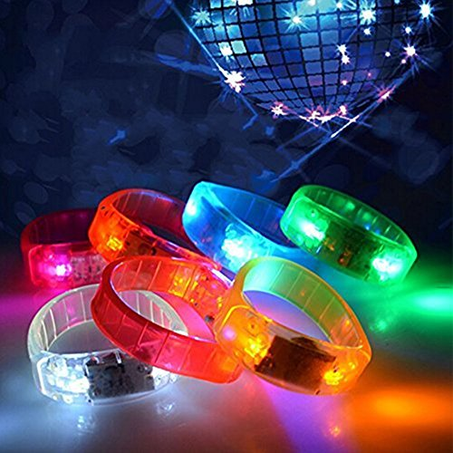 Voice Activated Sound Control LED Flashing Bracelet Wristband Bangle for Christmas Party Favors 10 Pack