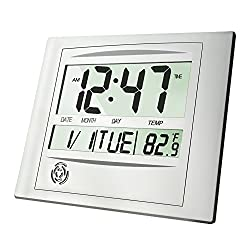 HeQiao Digital Wall Clock, 12 Inch Brushed Aluminum Decorative Desk Clock Silent Battery Operated Large LCD Alarm Clock W/Temperature Calendar Snooze for Home Office (Luxury Silver)