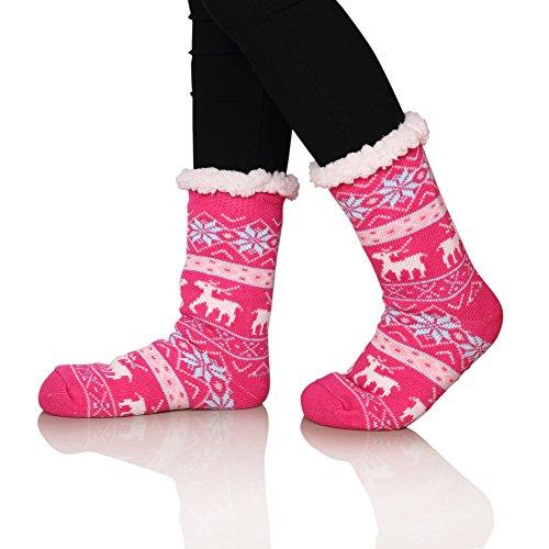 SDBING Women's Warm Cozy Fuzzy Fleece-lined Knee Highs Christmas gift Slipper socks (Pink) (Plus Lined Stockings Size)