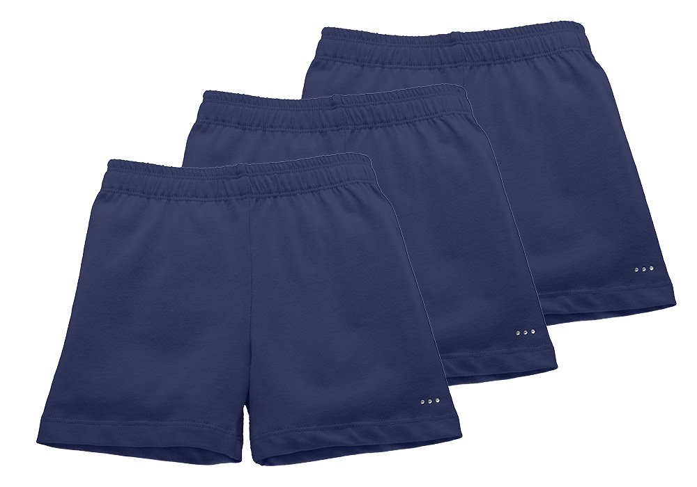 Little Girls Under Skirts and Dresses Modesty Shorts, 3-pack, Size Girls 7/8, All Navy Blue
