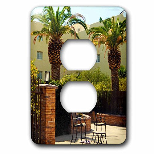 3dRose Jos Fauxtographee- Palms at Hotel - A hotel in Mesquite Nevada with palm trees and chairs - Light Switch Covers - 2 plug outlet cover - In Outlets Nevada