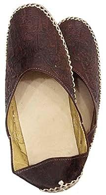 Camel Leather Slipper Shoes Sandal Flats Handemade Pharaoh TUT 438 (EU 37 = US 6.5 = UK 4 = 23.8 cm, Brown)