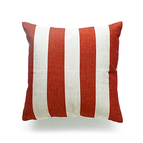 Hofdeco Throw Pillow Case Burnt Orange Striped HEAVY WEIGHT FABRIC