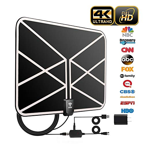 HD TV Antenna, 2019 Newest Indoor Digital TV Antenna 60-80 Miles Long Range with Amplifier Signal Booster 16 Ft Coax Cable for Free 1080P 4K VHF UHF Freeview Television Local Channels