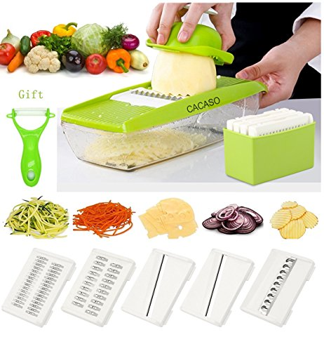 Mandoline Slicer+Peeler, Kitchen Vegetable Slicer Vegetable Grater Vegetable Cutter Julienne Slicer Potato Slicer Food Slicer Cheese Chopper Veggie Cutter for Cucumber With 5 Interchangeable (Easy Slicer)