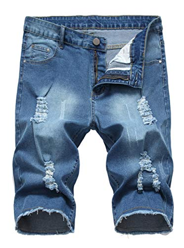 Sarriben Men's Casual Summer Distressed Button up Stretch Ripped Jeans Shorts with Repair Rips Blue