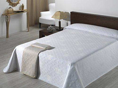 SABANALIA - Colcha de Pique Giovanna (Disponible en Varios tamanos) - Cama 180, Blanco