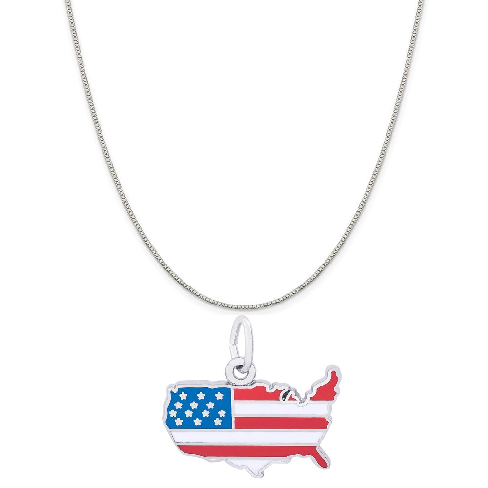 Rembrandt Charms Sterling Silver Enameled United States Flag Map Charm on a 16 Box or Curb Chain Necklace 18 or 20 inch Rope