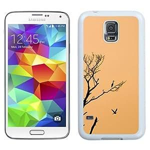 NEW Unique Custom Designed Samsung Galaxy S5 I9600 G900a G900v G900p G900t G900w Phone Case With Stork Birds Sunset Tree_White Phone Case