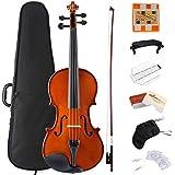 ADM Violin 1/4 Solidwood Ebony Pegs Violin Beginner Student Advanced Kit with Violin Case, Ebony Frog Violin Bow and Rosin, etc