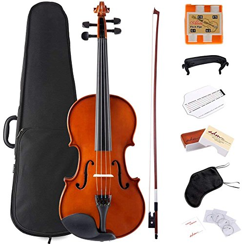 ADM Violin 4/4 Full Size Solidwood Ebony Pegs Violin Beginner Student Advanced Kit with Violin Case, Ebony Frog Violin Bow and Rosin, etc by ADM