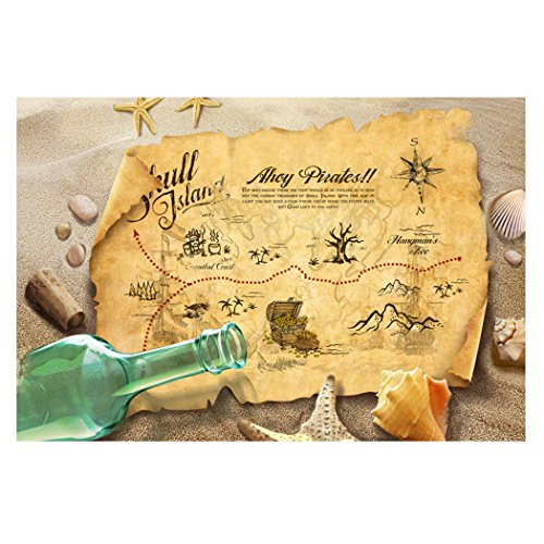 "Fantasy Star Aquarium Background Beach Treasure Map Drifting bottle Easy to Apply and Remove Fish Tank Wallpaper Sticker Background Decoration 24"" x 16"""