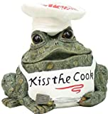Homestyles Toad Hollow #94119 Figurine Kiss the Cook in Kitchen Apron & Chef Hat Holding Grill Utensils Character Garden Statue Small 5.5″h Toad Figure Natural Green